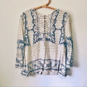 Maeve Cream & Blue Heart Print Popover Top Medium
